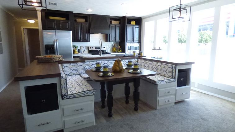 Booth behind island designs with kitchens kitchen island for Booth kitchen island
