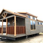 The Premier cabin by Platinum Cottages and Recreational Resort Cottages Athens. This value priced 15' wide park model is shown with cabin features including stained exterior hardi, and interior stained syp trim and accents.